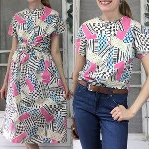 Vintage Geometric Blouse and Skirt Set Sz. S
